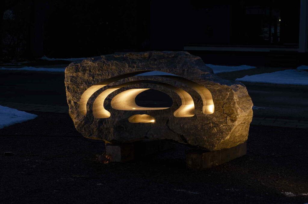 Landscape stone light at night
