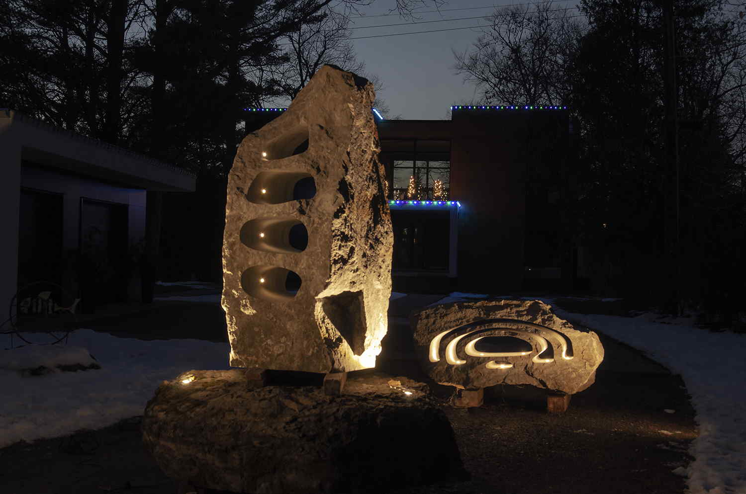 Stone LED sculpture lights by Rideau Works