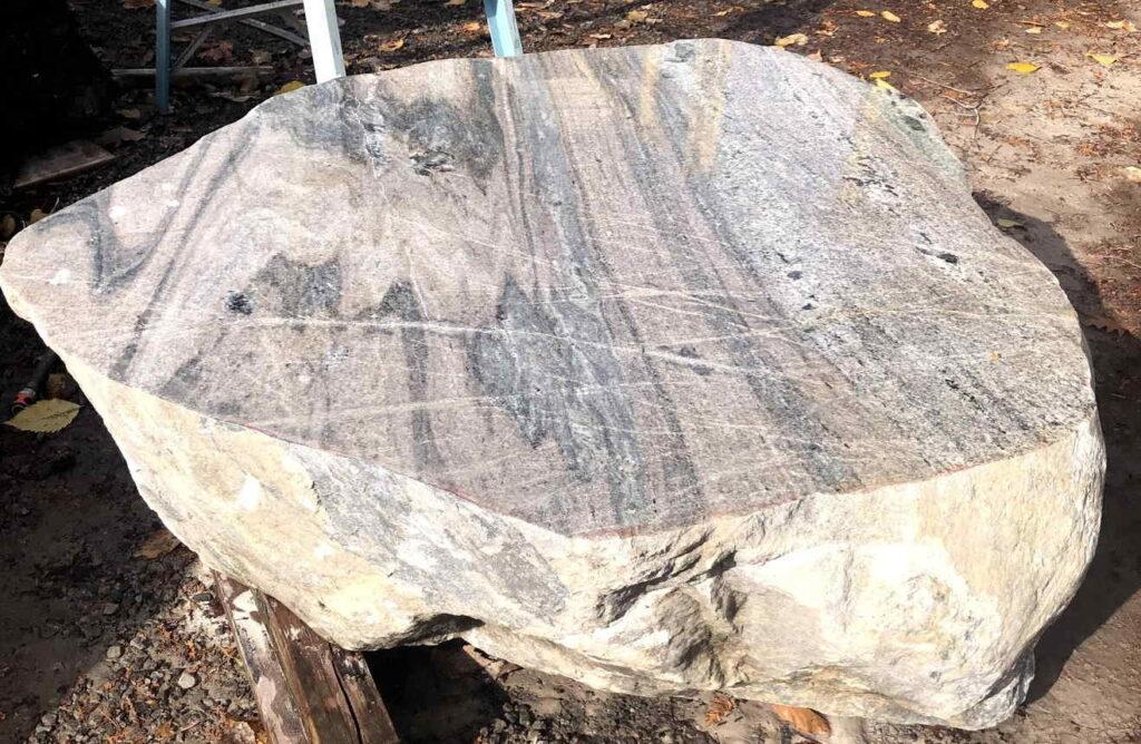 Granite polished boulder table